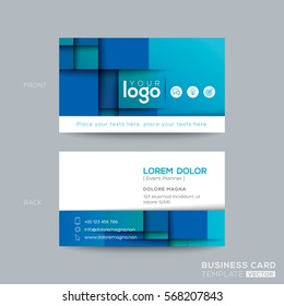 Clean and simple abstract blue business card namecard design