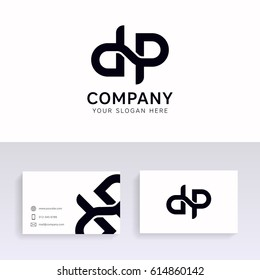 Clean simple dp logo modern company sign icon symbol with business card.