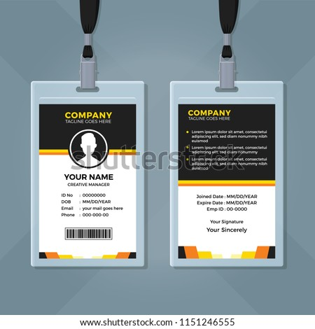 Clean Simple Employee ID Card Template Stock Vector (Royalty Free ...