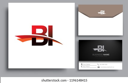 Clean and simple modern business card Business Card Template, initial letter BI logotype company name colored black and red swoosh design. Vector sets for business identity