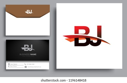 Clean and simple modern business card Business Card Template, initial letter BJ logotype company name colored black and red swoosh design. Vector sets for business identity