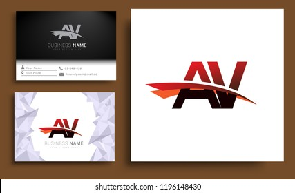 Clean and simple modern business card Business Card Template, initial letter AV logotype company name colored black and red swoosh design. Vector sets for business identity