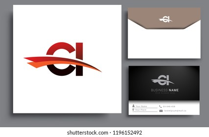 Clean and simple modern business card Business Card Template, initial letter CI logotype company name colored black and red swoosh design. Vector sets for business identity