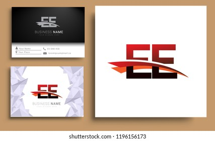 Clean and simple modern business card Business Card Template, initial letter EE logotype company name colored black and red swoosh design. Vector sets for business identity