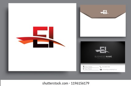 Clean and simple modern business card Business Card Template, initial letter EI logotype company name colored black and red swoosh design. Vector sets for business identity