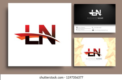 Clean and simple modern business card Business Card Template, initial letter LN logotype company name colored black and red swoosh design. Vector sets for business identity