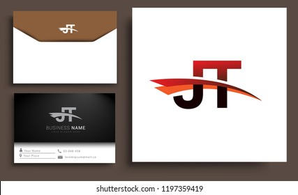 Clean and simple modern business card Business Card Template, initial letter JT logotype company name colored black and red swoosh design. Vector sets for business identity