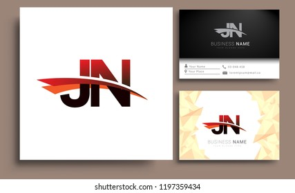 Clean and simple modern business card Business Card Template, initial letter JN logotype company name colored black and red swoosh design. Vector sets for business identity