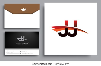 Clean and simple modern business card Business Card Template, initial letter JJ logotype company name colored black and red swoosh design. Vector sets for business identity