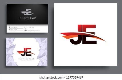Clean and simple modern business card Business Card Template, initial letter JE logotype company name colored black and red swoosh design. Vector sets for business identity