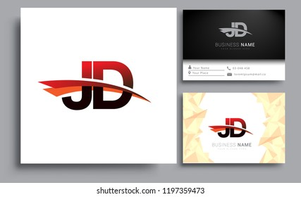 Clean and simple modern business card Business Card Template, initial letter JD logotype company name colored black and red swoosh design. Vector sets for business identity