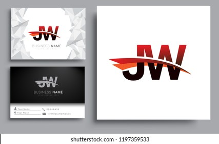 Clean and simple modern business card Business Card Template, initial letter JW logotype company name colored black and red swoosh design. Vector sets for business identity