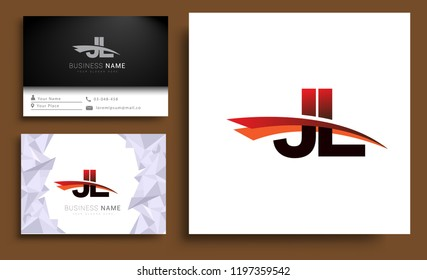 Clean and simple modern business card Business Card Template, initial letter JL logotype company name colored black and red swoosh design. Vector sets for business identity