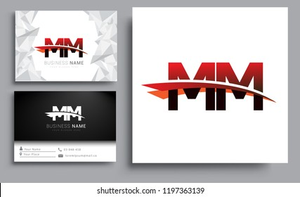 Clean and simple modern business card Business Card Template, initial letter MM logotype company name colored black and red swoosh design. Vector sets for business identity