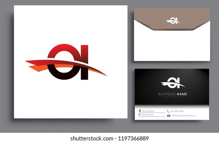 Clean and simple modern business card Business Card Template, initial letter OI logotype company name colored black and red swoosh design. Vector sets for business identity