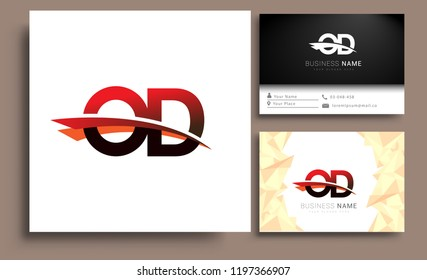 Clean and simple modern business card Business Card Template, initial letter OD logotype company name colored black and red swoosh design. Vector sets for business identity