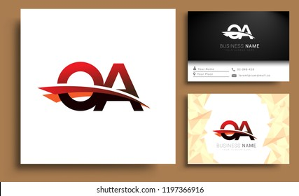 Clean and simple modern business card Business Card Template, initial letter OA logotype company name colored black and red swoosh design. Vector sets for business identity