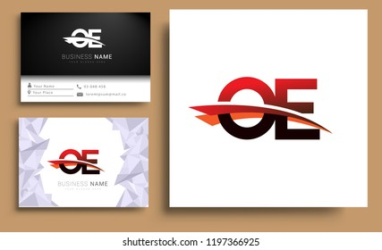 Clean and simple modern business card Business Card Template, initial letter OE logotype company name colored black and red swoosh design. Vector sets for business identity