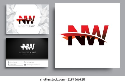 Clean and simple modern business card Business Card Template, initial letter NW logotype company name colored black and red swoosh design. Vector sets for business identity