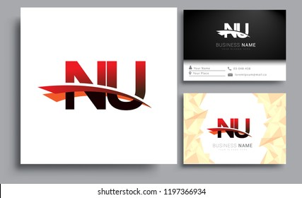 Clean and simple modern business card Business Card Template, initial letter NU logotype company name colored black and red swoosh design. Vector sets for business identity