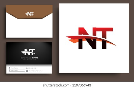 Clean and simple modern business card Business Card Template, initial letter NT logotype company name colored black and red swoosh design. Vector sets for business identity
