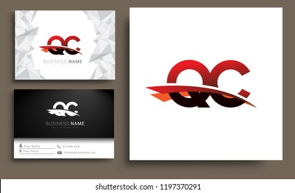 Clean and simple modern business card Business Card Template, initial letter QC logotype company name colored black and red swoosh design. Vector sets for business identity