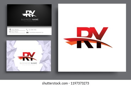 Clean and simple modern business card Business Card Template, initial letter RY logotype company name colored black and red swoosh design. Vector sets for business identity