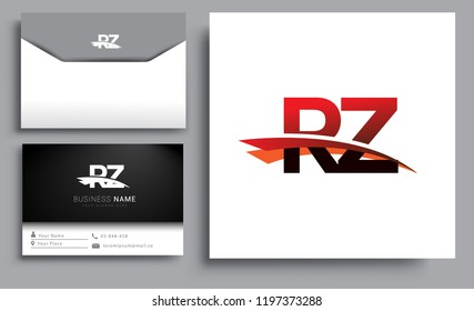 Clean and simple modern business card Business Card Template, initial letter RZ logotype company name colored black and red swoosh design. Vector sets for business identity