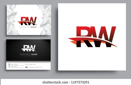 Clean and simple modern business card Business Card Template, initial letter RW logotype company name colored black and red swoosh design. Vector sets for business identity