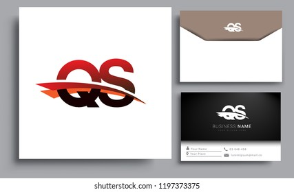 Clean and simple modern business card Business Card Template, initial letter QS logotype company name colored black and red swoosh design. Vector sets for business identity