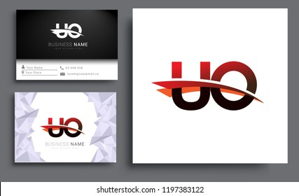 Clean and simple modern business card Business Card Template, initial letter UO logotype company name colored black and red swoosh design. Vector sets for business identity