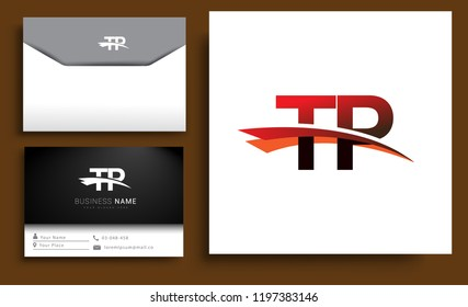 Clean and simple modern business card Business Card Template, initial letter TP logotype company name colored black and red swoosh design. Vector sets for business identity