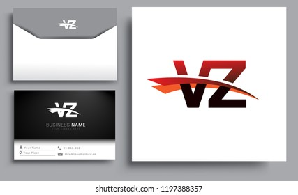 Clean and simple modern business card Business Card Template, initial letter VZ logotype company name colored black and red swoosh design. Vector sets for business identity