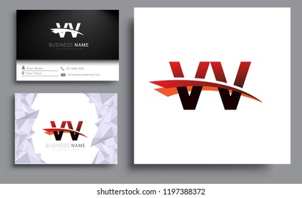 Clean and simple modern business card Business Card Template, initial letter VV logotype company name colored black and red swoosh design. Vector sets for business identity
