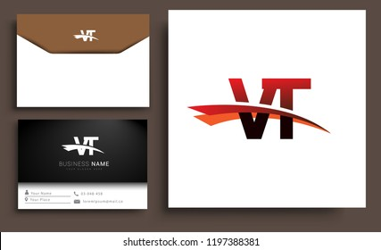 Clean and simple modern business card Business Card Template, initial letter VT logotype company name colored black and red swoosh design. Vector sets for business identity