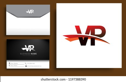 Clean and simple modern business card Business Card Template, initial letter VP logotype company name colored black and red swoosh design. Vector sets for business identity