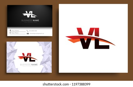 Clean and simple modern business card Business Card Template, initial letter VL logotype company name colored black and red swoosh design. Vector sets for business identity