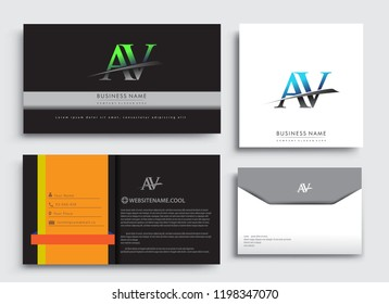 Clean and simple modern Business Card Template, with initial letter AV logotype company name colored blue and green swoosh design. Vector sets for business identity, Stationery Design.