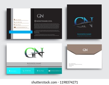 Clean and simple modern Business Card Template, with initial letter GN logotype company name colored blue and green swoosh design. Vector sets for business identity, Stationery Design.