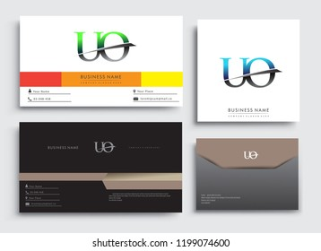 Clean and simple modern Business Card Template, with initial letter UO logotype company name colored blue and green swoosh design. Vector sets for business identity, Stationery Design.