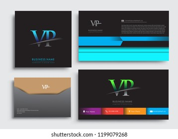 Clean and simple modern Business Card Template, with initial letter VP logotype company name colored blue and green swoosh design. Vector sets for business identity, Stationery Design.