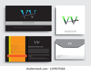 Clean and simple modern Business Card Template, with initial letter VV logotype company name colored blue and green swoosh design. Vector sets for business identity, Stationery Design.