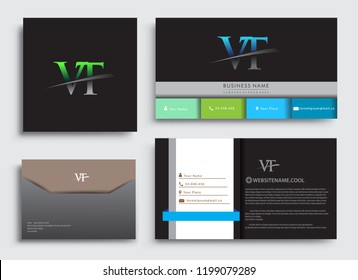 Clean and simple modern Business Card Template, with initial letter VT logotype company name colored blue and green swoosh design. Vector sets for business identity, Stationery Design.