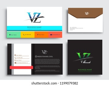 Clean and simple modern Business Card Template, with initial letter VZ logotype company name colored blue and green swoosh design. Vector sets for business identity, Stationery Design.