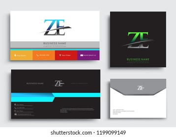 Clean and simple modern Business Card Template, with initial letter ZE logotype company name colored blue and green swoosh design. Vector sets for business identity, Stationery Design.