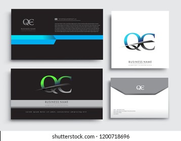 Clean and simple modern Business Card Template, with initial letter QC logotype company name colored blue and green swoosh design. Vector sets for business identity, Stationery Design.