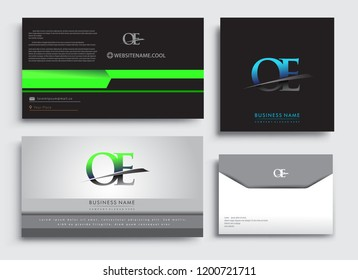 Clean and simple modern Business Card Template, with initial letter OE logotype company name colored blue and green swoosh design. Vector sets for business identity, Stationery Design.