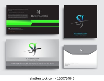 Clean and simple modern Business Card Template, with initial letter SJ logotype company name colored blue and green swoosh design. Vector sets for business identity, Stationery Design.