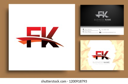 Clean and simple modern business card Business Card Template, initial letter FK logotype company name colored black and red swoosh design. Vector sets for business identity