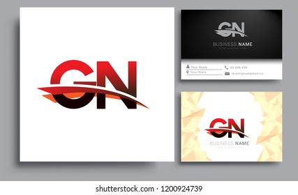 Clean and simple modern business card Business Card Template, initial letter GN logotype company name colored black and red swoosh design. Vector sets for business identity